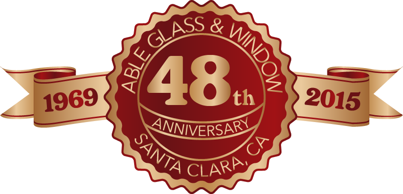 48th year anniversary label in red and gold